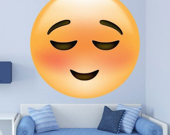 Emoji Relieved Smile Face Wall Decal - #72755