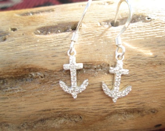 Sterling and Crystal Anchor Dangle Earrings