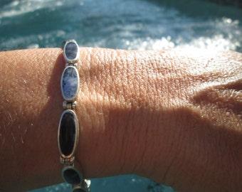 Lapis and Sterling Link Bracelet
