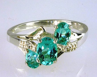 Genuine Blue Green Madagascar Apatite Three Stone Ring 925 Sterling Silver
