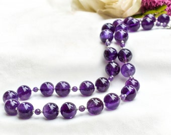 Chunky natural amethyst necklace with 925 sterling silver *Free worldwide shipping*