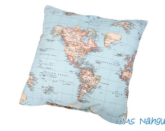 "Pillowcase ""World map"" - wish continent / Ocean selectable - specially for you always unique customized!"