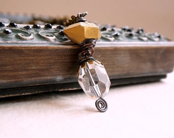 Crystal points pendant brass necklace Crystal quartz dangles