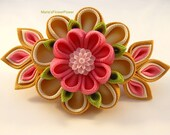 Handmade Kanzashi Tsunami fabric flower grosgrain ribbon french barrette  hair accessories in UKshipping worldwide