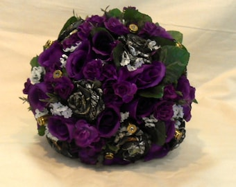 Camo Wedding Bouquet, Camo Bridal Bouquet, Camo Wedding, Purple Silk Flowers, Mossy Oak Bouquet. Keepsake Bouquet, Alternate Bouquet