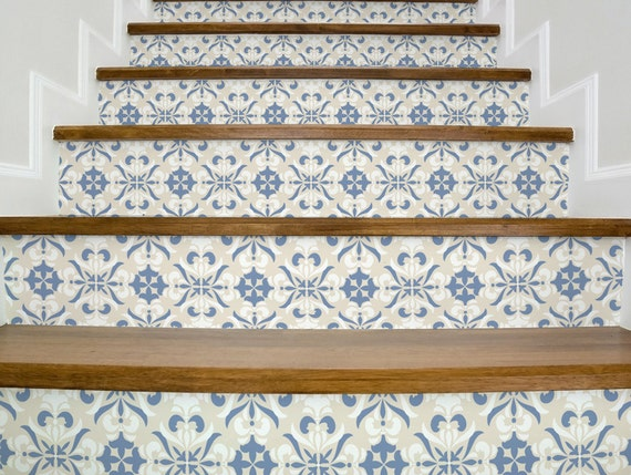 Stair decals vintage beige and blue beautiful stair stickers - Stickers imitation carrelage ...