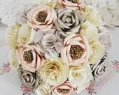 Paper wedding Bouquet Origami lowers bridal blush pale pink peach cream ivory white rose hessian vintage rustic romantic wedding theme