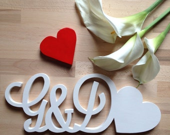 Wooden initials to decorate the House or for ceremonies