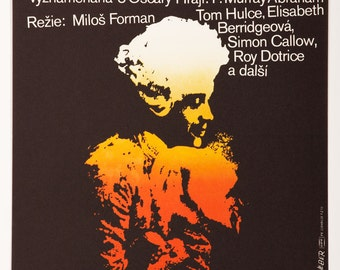AMADEUS Movie Poster, Vintage Movie Poster for film directed by Milos Forman, 1980s Poster, Large A1 Mozart Poster Design by Jan Weber