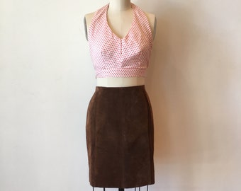 Brown Suede Pencil Skirt