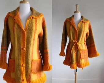 Vintage 1970s Columbian Technicolor Wool Dream Coat with Bell Sleeves