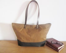Waxed cotton tote, Diaper bag, leather straps, large shoulder bag, handmade Ireland, canvas tote, womens bag, weekend shoulder bag