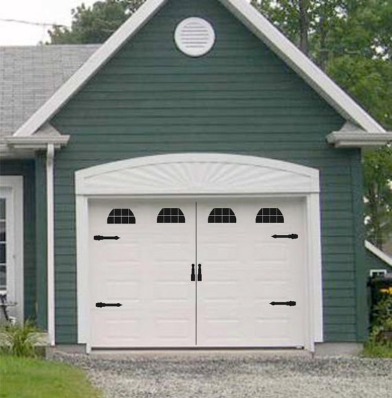 Carriage house style vinyl garage door decal kit faux windows for Coach house garage prices