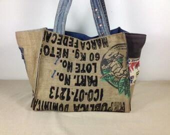 vegan bag, Large tote bag, burlap bag, handmade tote, beach tote, eco friendly bag, recycled bag, womens beach bag