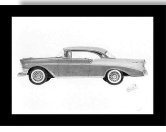 Pencil drawing of a 1956 Chevrolet Bel Air