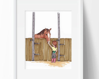 Horse Wall Art Girl and Horse Wall Decor Equestrian Artwork Drawing of Horse Back Riding Gift for Horse Lover Art Barn 8x10