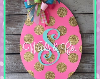 Easter Egg with Gold Glitter Dots  Initial Hand painted Spring Door Hanger Easter Door Hanger