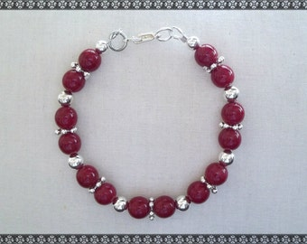 red bracelet, dark red bracelet, red, red and silver, apple red, silver