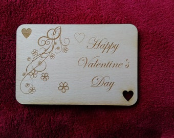 engraved wooden valentines card, choice of verses on the back, personalising option