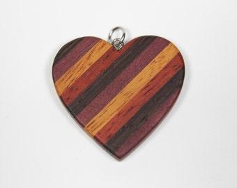 Wooden Heart Pendant, Mosaic Heart Pendant, Heart Necklace, Wood Heart Pendant, Red Heart, Love Pendant, Love Necklace, Valentine's Gift