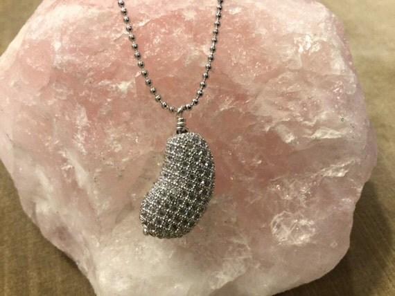 Silver Pave Kidney Necklace