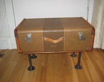 Vintage Suitcase coffee table, upcycled 20s 30s luggage, storage coffee table, repurposed table, industrial rustic home decor, OOAK