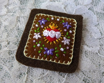 Sacred Hearts with Violets (Brown) - Hand Embroidered Brown Scapular