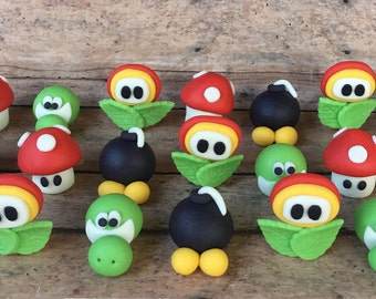 12 inspired MARIO Bros 3d. fondant Toppers