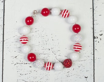 CHRISTMAS Bubblegum Necklace, Candy Cane chunky bead necklace, Adult Necklace, Baby chunky necklace, chunky necklace, toddler girls necklace