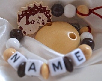 Natural Hedgehog *** Personalised Wooden Dummy Clip/Chain / Baby Shower Gift / Baby present