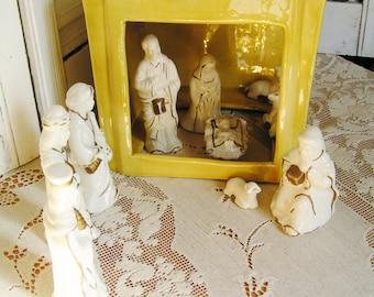 SALE 50% Off -- Vintage 11 Pc Ceramic Pottery Atlantic Mold Manger with Nativity Set Creche