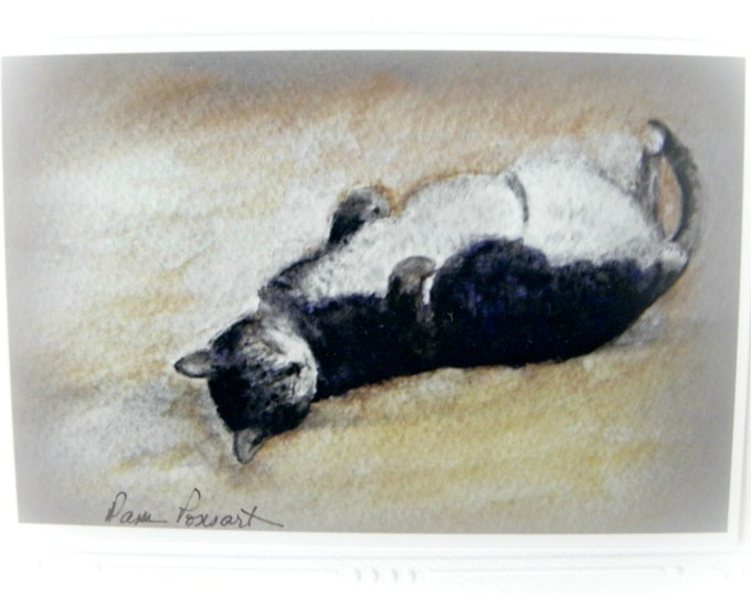 CAT LOVER watercolor photo reproduction, Blank Inside Stationary, Heavy Embossed Card Stock, Coordinating Envelope