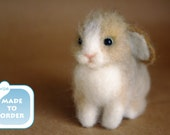 OOAK Needle felted bunny rabbit miniature SMALL Easter gift charm doll house / fairy garden / Made to order / SaniAmaniCrafts