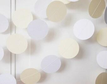 Wedding Paper Garland, Ivory & White Circle Garland, Shower, Birthday, Party Decoration 12'
