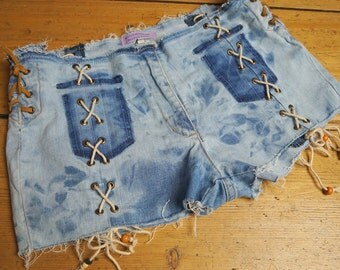 Tie Dye Denim Shorts with lace up - Hip shorts/hot pants  size m