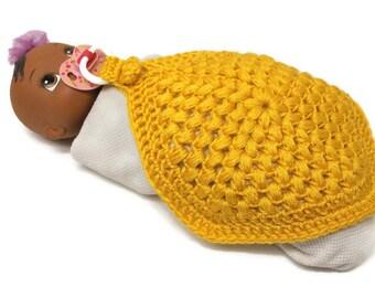 Crochet Security Blanket, Golden Yellow Binky Blanket, Baby Girl, Baby Boy, Gender Neutral, Pacifier Lovey, Baby Shower Gift, New baby