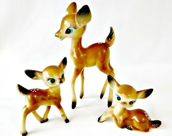 Vintage Deer Family, Hong Kong Plastic Deer, Kitsch Christmas Decorations, Retro Bambi Deer, Doe Fawn Deer Figurines, Holiday Decor Reindeer