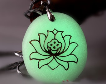 Lotus Necklace - Zen Necklace - Glow In The Dark Necklace - Prayer Religion Meditation - Glowing Stone - Flower Necklace Yoga Jewelry