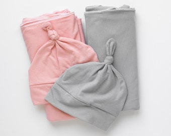 Swaddle Set, Knit Swaddle Blanket and Knotted Beanie, Summer time Swaddle Blanket, Lightweight and Breathable