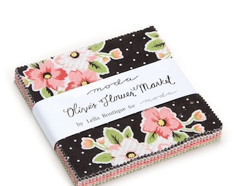 In Stock - Olive's Flower Market Charm Pack by Lella Boutique for Moda Fabrics