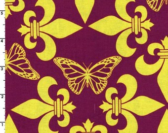 Kokka Fabric, Butterfly Fabric -  Regal Flutterby - Wanderlust by Thomas Knauer JG 50600 A - Mauve/Mustard - Priced by the 1/2 yard
