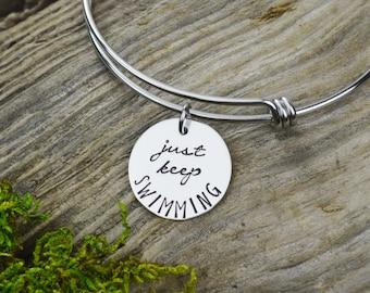 Just Keep Swimming Adjustable Bangle Bracelet - Stacking Bangle