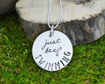 Just Keep Swimming Necklace in Sterling Silver