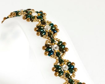 Twin Bead Bracelet in Iris Olive Green Twin Beads, Crystal Montees, Gold Seed Beads and Drop Beads - Seed Bead Bracelet - Seed Bead Jewelry