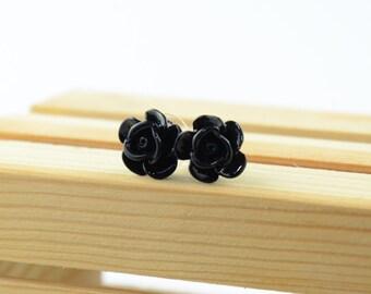Rose Stud Resin Earrings
