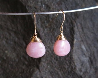 Pink Opal Earrings - October Birthstone - 14 carat gold filled