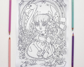 coloring page jpg alice in wonderland curiouser and curiouser lewis carroll instant download art printable illustration
