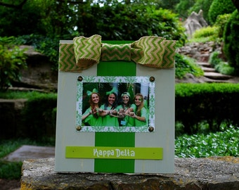 Kappa Delta Large Bow Table Top Frame with Burlap Ribbon