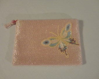 Vintage Pink Beaded Clutch Purse Butterfly Detail Pink Satin Lining By Lady Priscilla, Bridal Clutch Evening Bag, Excellent Condition