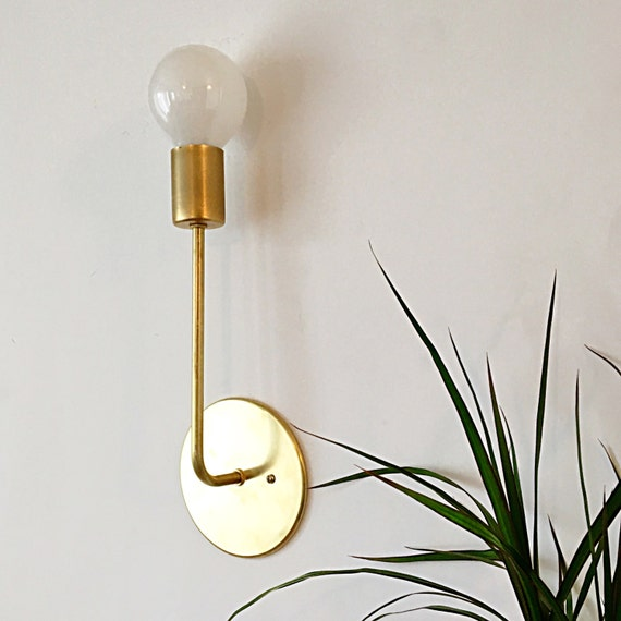 Brass long arm sconce mid century modern wall mount
